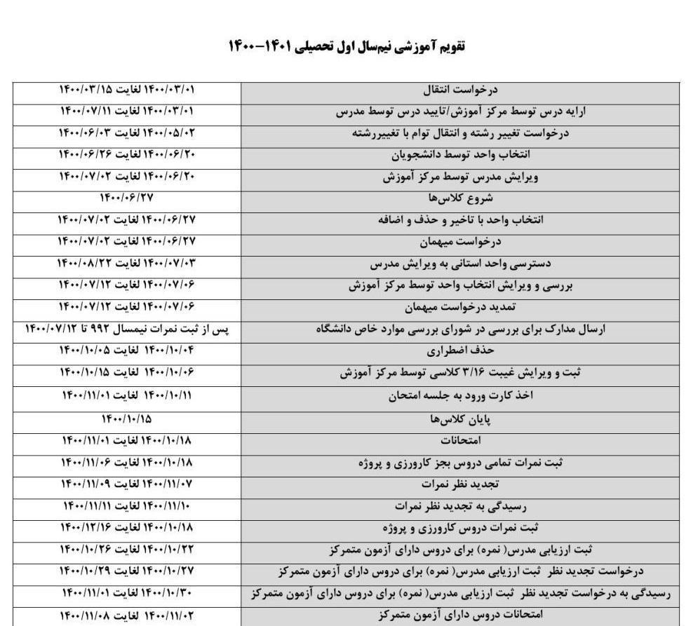 تقویم آموزشی نیمسال اول 1400